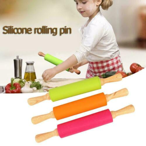 Silicone Rolling Pin Non Stick Pastry Baking Tool Dough Wooden Roller