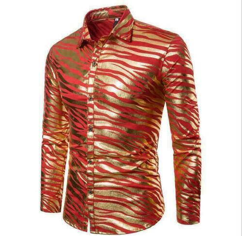 Hommes Zebra Stripe Slim Fit Dress Shirts Tops Décontractées Rétro Couverture col haut Vic