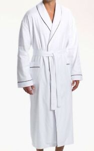 $225 Ike Behar New York White Bathrobe tonal stripes With Black Piping Men S/M