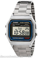Casio A158W-1 Men's Vintage Metal Band Alarm Chronograph Casual Digital Watch