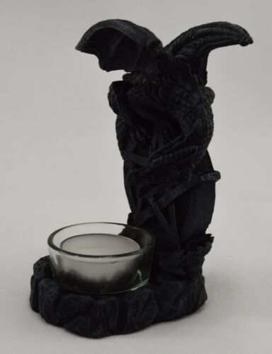Beautiful Gothic Fantasy Dragon Tealight Candle Holder with Pentagram Design NEW