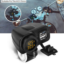Cell Phone 2 Port USB Charger LED Voltmeter Thermometer For Motorcycle Handlebar
