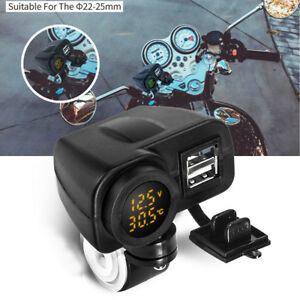 Cell-Phone-2-Port-USB-Charger-LED-Voltmeter-Thermometer-For-Motorcycle-Handlebar