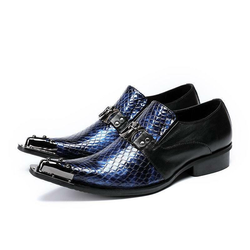 Uomo Pointy Toe Buckle Business Slip On Pelle Dress Formal Shoes Loafers Sgh01