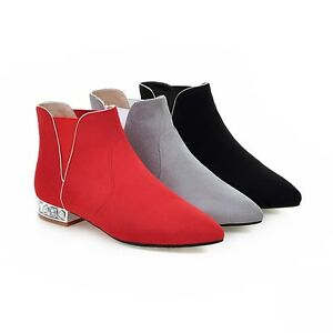 28f844a1712 Details about Women's Low Heel Ankle Boots Black/Grey/Red Faux Suede  Pointed Shoes UK Size 1~8