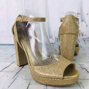 Brash-Women-039-s-Metallic-Gold-Peep-Toe-Ankle-Strap-Block-Heels-Size-10-NWOB