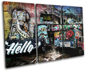 URBAN STREET GRUNGE Graffiti TREBLE CANVAS WALL ART Picture Print VA