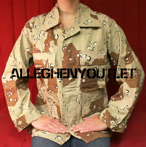 US-Military-Army-6-Color-Desert-Camo-BDU-SHIRT-TOP-Chocolate-Chip-S-XS-NEW