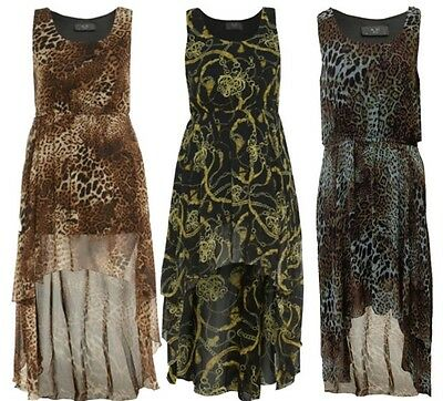 NEW WOMENS LEOPARD ANIMAL PRINT TIE WAISTED DROP EVENING PARTY PROM  DRESS 16-26
