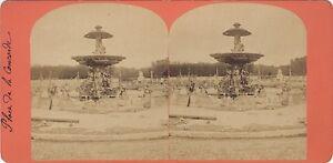 Place Da La Concorde Parigi Francia Foto Stereo Vintage Albumina Ca 1870