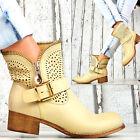 NUEVO Designer Zapatos Mujer MOTO verano Cordones Tobillo Botas Botines beige