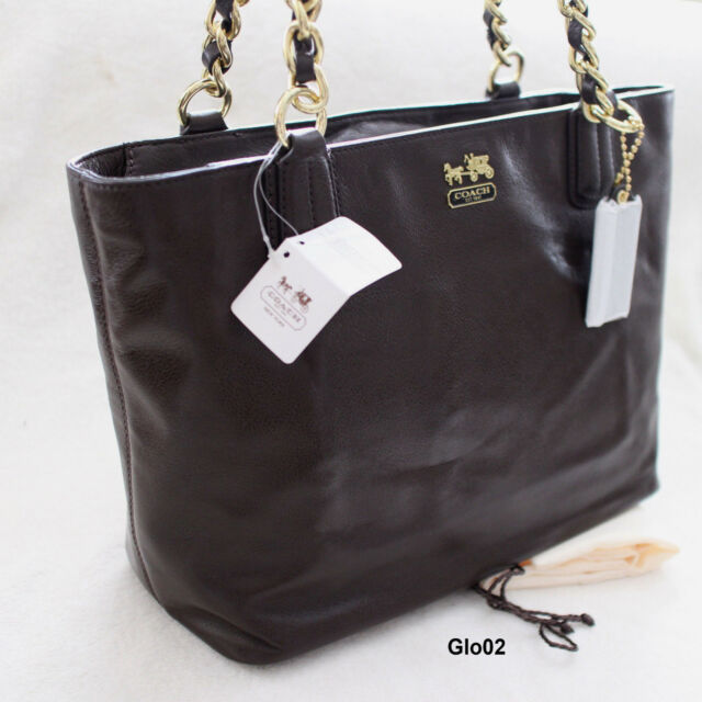 a2c2f50d3f NWT COACH MADISON Mahogany Brown Leather Chain Tote Shoulder Bag Purse NEW   298