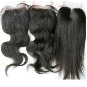 Unprocessed-black-100-Brazilian-virgin-remy-human-hair-4x4-039-039-lace-top-closure