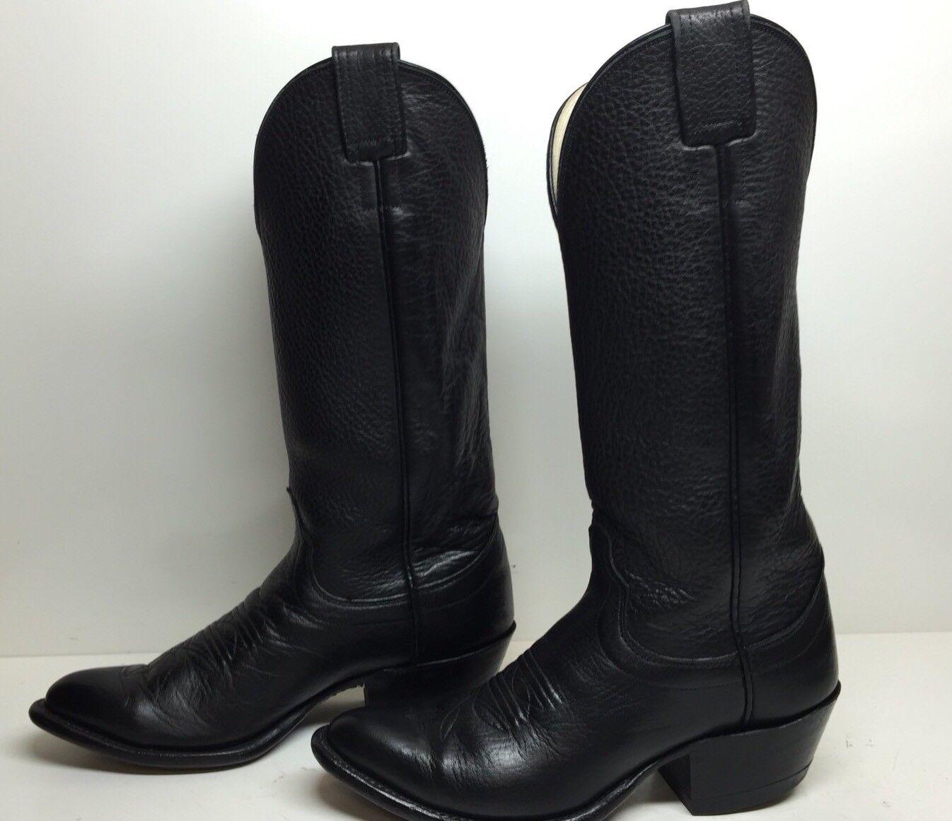 #J  WOMENS OLATHE COWBOY BULLHIDE LEATHER BLACK BOOTS SIZE 6.5 B