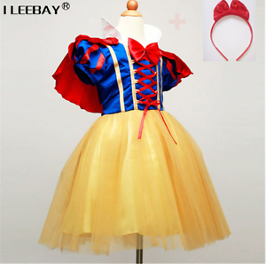 Image is loading New-Dress-Princess-Snow-White-Costume-Disney-Fancy- & New Dress Princess Snow White Costume Disney Fancy Rapunzel Girls ...