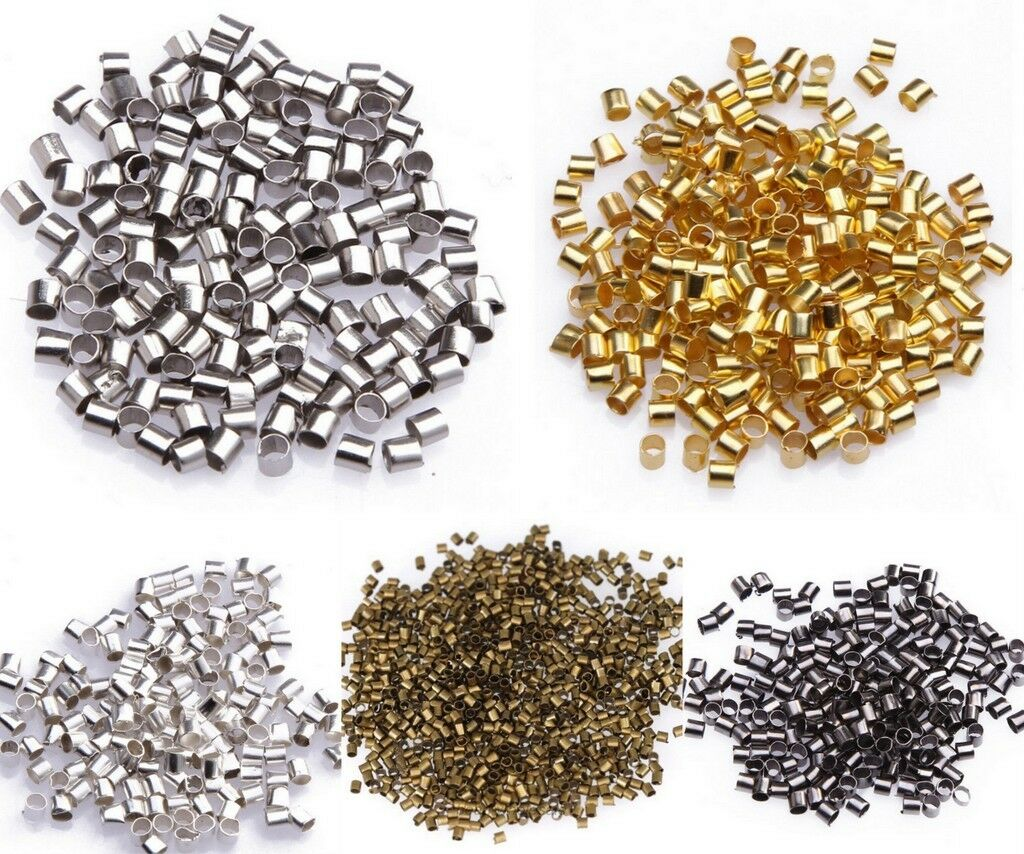 Lots 500//1000pcs Silver//Golden Plated //Black//Bronze Tube Crimp Spacer End Beads