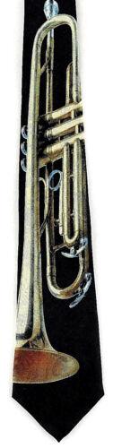 Brass Trumpet Mens Necktie Musical Instrument Trumpets Music Black Neck Tie