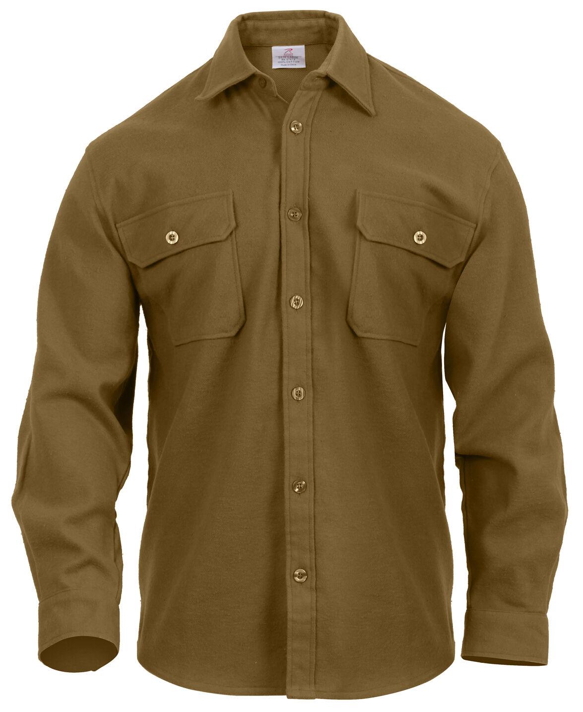 Mens Flannel Shirts Long Sleeve Shirt Heavyweight Coyote Brown redhco 4761