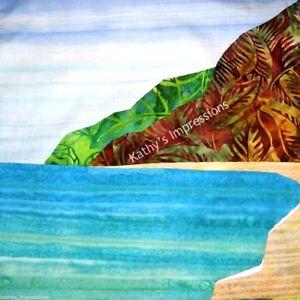 Details About Tropical Beach Fabric Panel Hawaii Polihale Kauai Hawaiian Batik Quilt Square