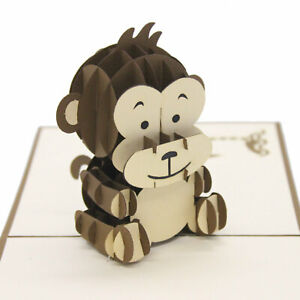 Handmade-3D-Pop-Up-Baby-Monkey-Birthday-Card-UK-Seller