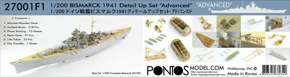 Pontos Model 0 Bismarck 1941 Ultimate avanzado detalles-up set para Trumpeter