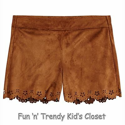 71b805d3dd NWT Justice Girls Size 12 or 14 Elastic Waistband Brown Faux Suede ...