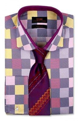 Steven Land Men/'s Multi Trim Fit Convertible Cuff Dress Shirt TA762