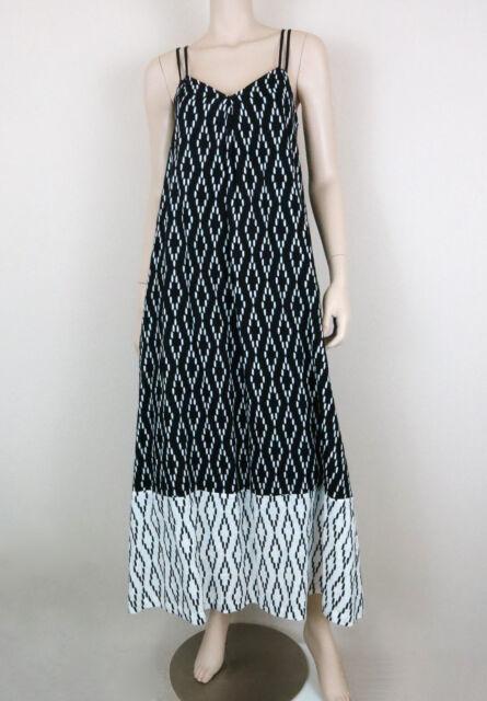 BANANA REPUBLIC Cross-Back Spadhetti Strap Maxi Dress Black White 4 Petites