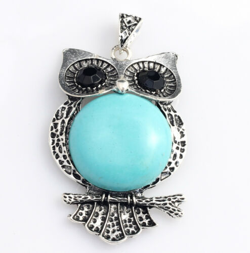 DIY Jewelry Turquoise Antique Style Owl Pendant 2 inches long