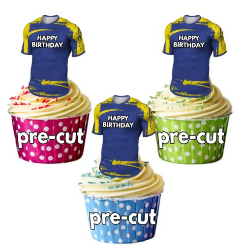 Rugby Camiseta Cumpleaños Precortada Cup Cake Toppers Worcester Warriors Colores