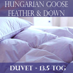 Luxury 100% Hungarian Goose Feather and Down Duvet Quilt- All Bed Sizes 13.5 Tog