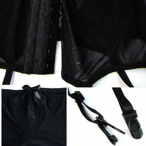 Damen Strumpfgürtel G-Strings Strümpfe Spitze Set Massiv Dessous Unterwäsche