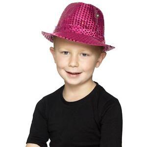 Girl s Kids Pink Light Up Sequin Trilby Fancy Dress Hats Kids Party ... 418227b9714
