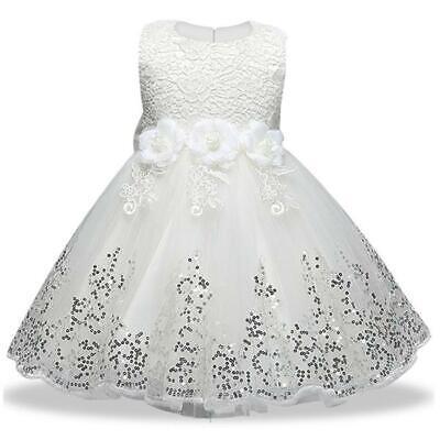 Avere Una Mente Inquisitrice White Baby Principessa Abito Ragazze Festa Di Matrimonio Battesimo Paillettes Abiti Per Bambini-