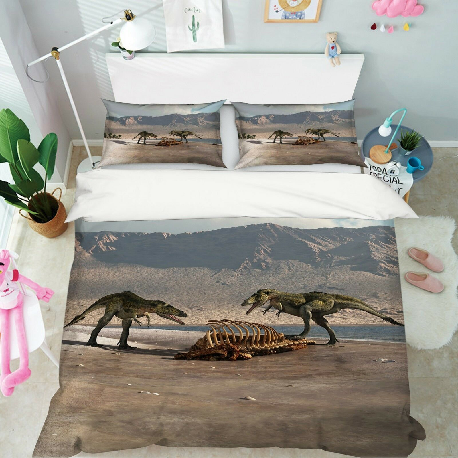 3D Tier Skelett  Dinosaurier 5 Bett Kissenbezüge steppen Duvet Decken Set Single