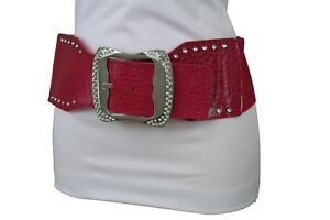 New Women Hip High Waist Fashion Narrow Belt Big Red Color Flower Charm Size M L
