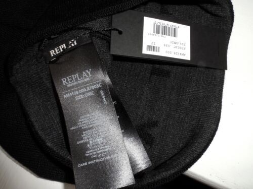 REPLAY MADE IN Italy Black Cuff BEANIE Toque Hat UNISEX Mens - EUR ... f6f80528f9ed