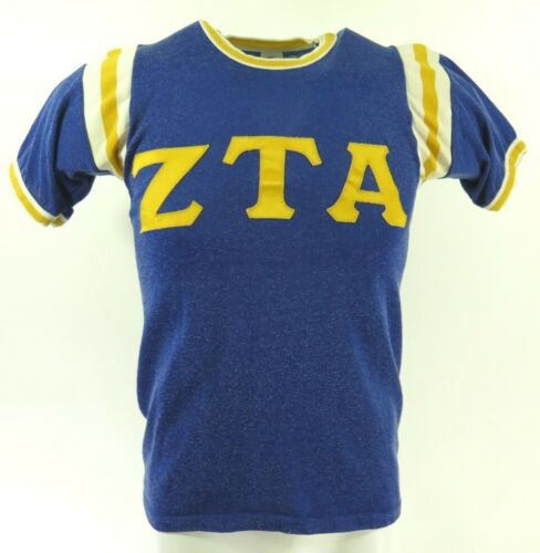 Vintage 50s ZTA Zeta Tau Alpha Jersey TShirt S Blu
