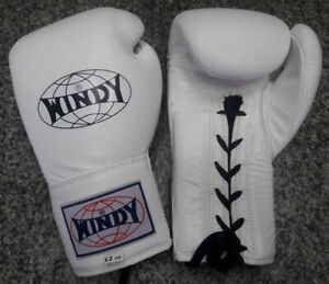 WINDY BOXING GLOVES LACE UP BGL YELLOW 10 OZ.COMPETITION MUAY THAI MMA K1