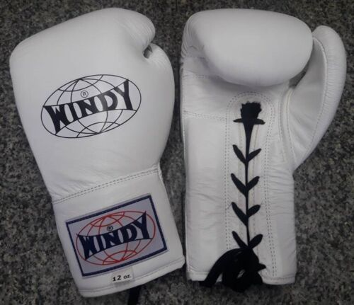 SPARRING MUAY THAI  K1 MMA WINDY BOXING GLOVES LACE UP BGL ALL WHITE 12 OZ