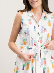 SHIRT-DRESS-WHITE-VASE-FLORAL-PRINT-BELT-POCKETS-1950s-TU-Sz-12-NEW