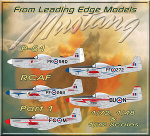 1-72-RCAF-P-51-Mustangs-Part-1-Western-Squadrons-decal-set-Leading-Edge-Models