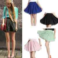 Vintage Women's Girl's High Waist Pleated Double layer Chiffon Short Mini Skirt