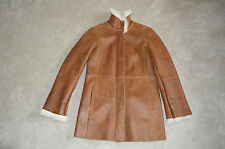 Lunghi in pelle marrone Burberry zip in Montone Shearling Giacca Cappotto Da Donna UK 8 US 6