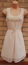 DOROTHY PERKINS CREAM BEADED COLLAR BELTED A LINE SKATER PARTY RARE DRESS 12 M