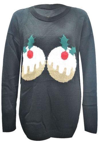 Le donne Plus Size Christmas Pudding manica lunga Novità Lavorato a maglia Jumpers Tops 8-26
