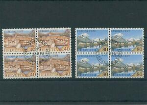 Switzerland-vintage-yearset-1977-Mi-1094-1095-Postmarked-4-er-Bl-More-Shop