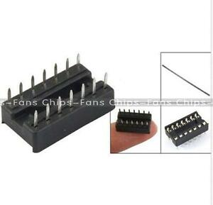 50pcs-14pin-DIP-IC-Sockel-Adapter-Solder-Type-Socket-Pitch-Dual-abwischen-Kontakt