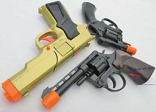 3x Toy Guns Military Detective Gold 9MM Pistol .357 Revolver Cap Guns Set