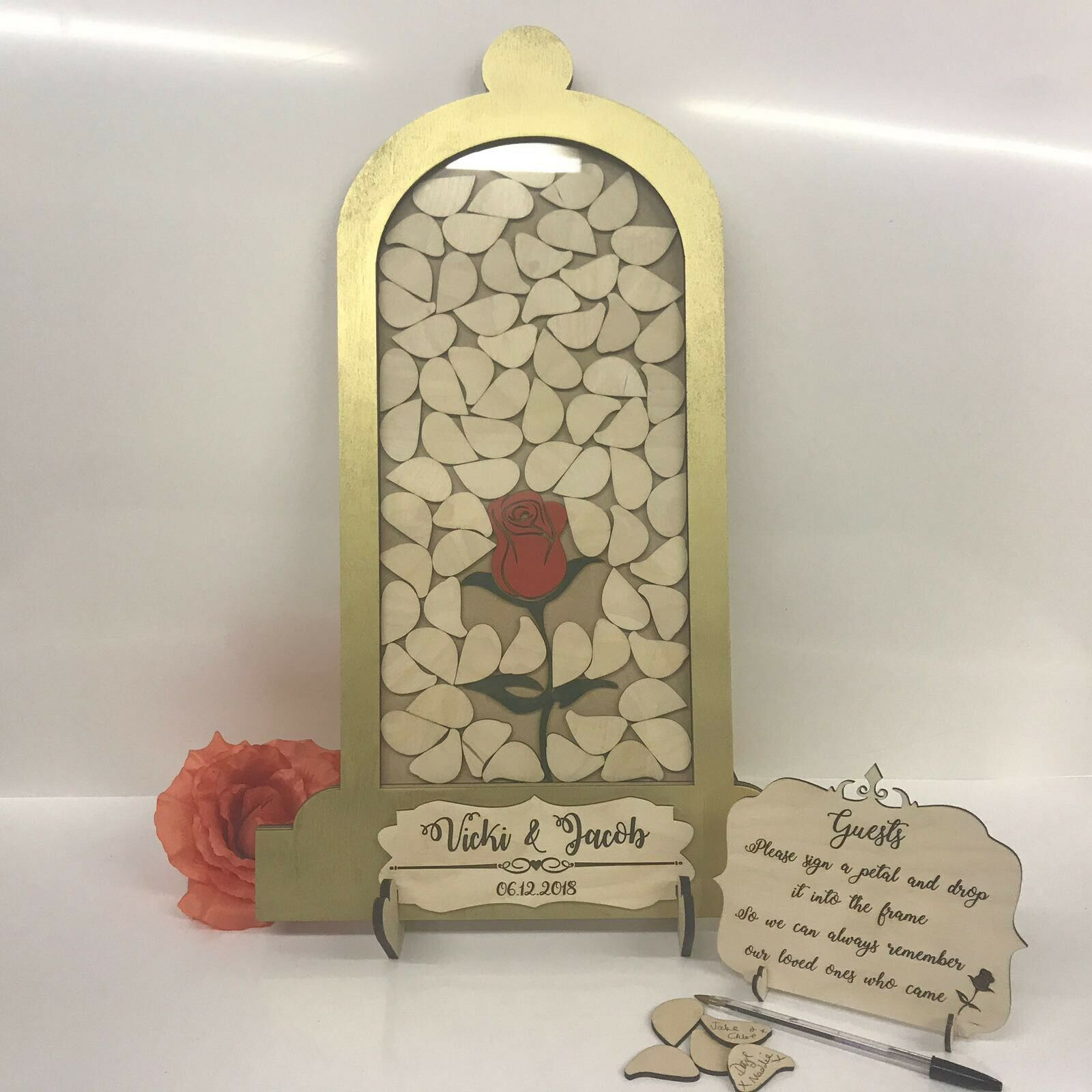 Beauty and the Beast Gold Wedding 95 drop box alternative guest book Dome Jar
